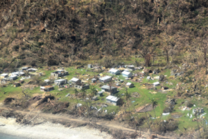 A village damaged by Tropical Cyclone Harold on Pentecost Island. Credit: Australian High Commission, Port Vila.