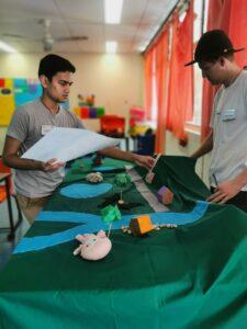 Keshav and Bradley setting up a workshop
