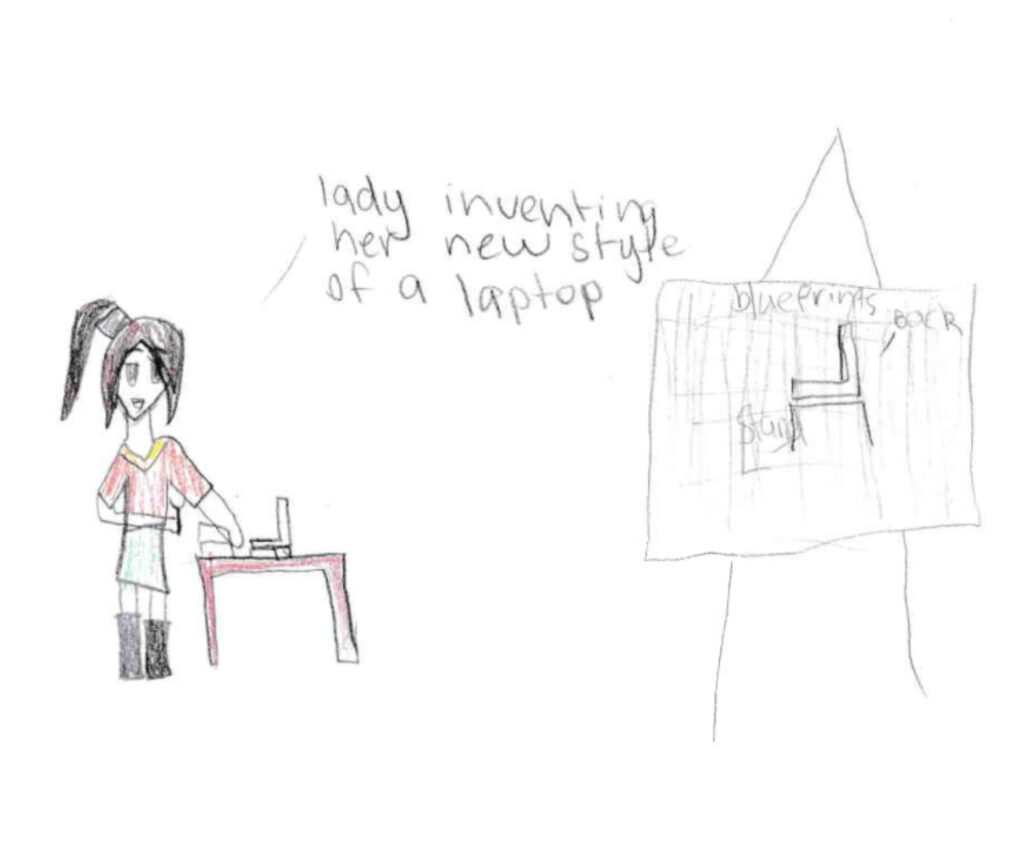 A drawing by student from the Torres Strait of a female engineer inventing a laptop, suggesting that the Regioneering program is breaking engineering stereotypes