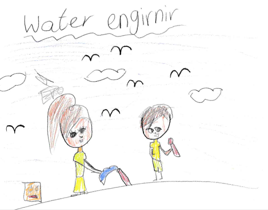 A drawing by student from the Torres Strait of two female water engineers, suggesting that the Regioneering program is breaking engineering stereotypes