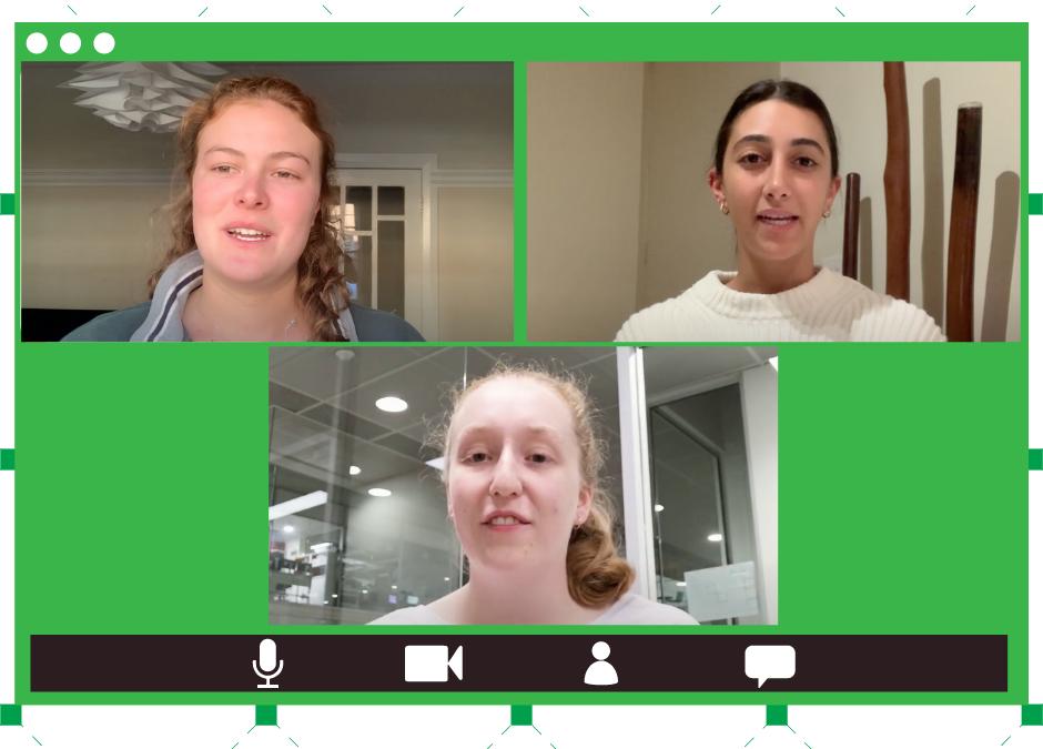 Three screenshots from the EWB Influencer Fellowship reflection videos
