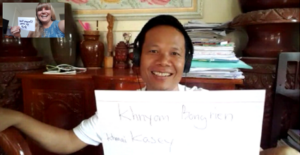 Kasey and language instructor Dara, learning Khmer over Zoom.