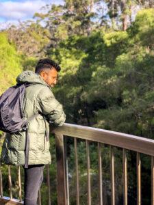 Vikrant, EWB engineering volunteer, travelling in nature