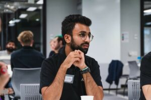 Vikrant at an Engineering Without Borders talk night as a representative field professional from Arup, his previous employer.